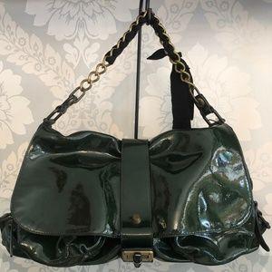 LANVIN Dark Green Patent Leather Shoulder Bag